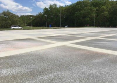 Large expanse of pavement and striping