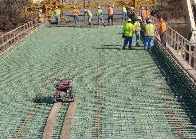 Bridge paving in process