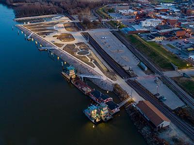 Hannibal Riverfront at Dusk